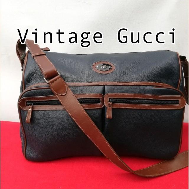 pro/e ベルト / Gucci - 良品!オールドグッチ レザー大型ショルダーバッグ トラベル 正規品 ユニセックスの通販 by vintage  shop