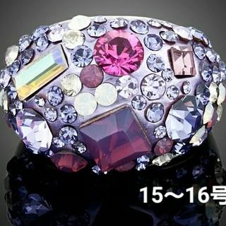 スワロフスキー(SWAROVSKI)の15~16号 スワロフスキークリスタルリング パープル(リング(指輪))