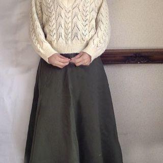 ロキエ(Lochie)の美品 ダークグリーン モスグリーン カーキ あったか スカート 渋緑(ロングスカート)