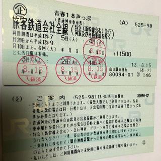 ジェイアール(JR)の使用済み青春18切符きっぷ(平成13年度)(鉄道乗車券)