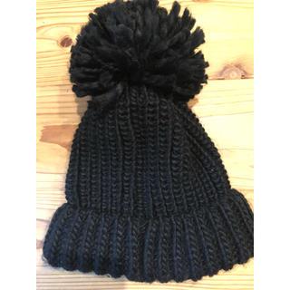 メゾンドリーファー(Maison de Reefur)のメゾンドリーファー ポンポンニット帽 黒(ニット帽/ビーニー)