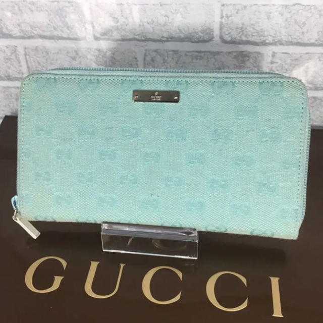 k t アクセサリー - Gucci - 可愛い❤️GUCCI 長財布 キャンバス 水色 ブルー ラウンドファスナーの通販 by ☆りんごぱい☆'s shop