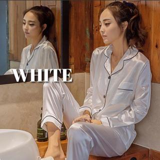 シルク風 ホワイト パジャマ ルームウェア レディース L 秋 冬 新品(ルームウェア)