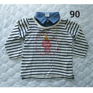 アカチャンホンポ(アカチャンホンポ)の【美品】赤ちゃん本舗 重ね着風 ボーダー長袖シャツ 90㎝(Tシャツ/カットソー)