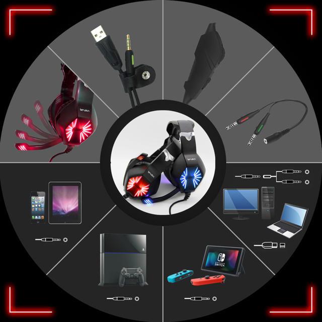 ゲーミングヘッドセット【レッド】新品 スマホ/家電/カメラのオーディオ機器(ヘッドフォン/イヤフォン)の商品写真