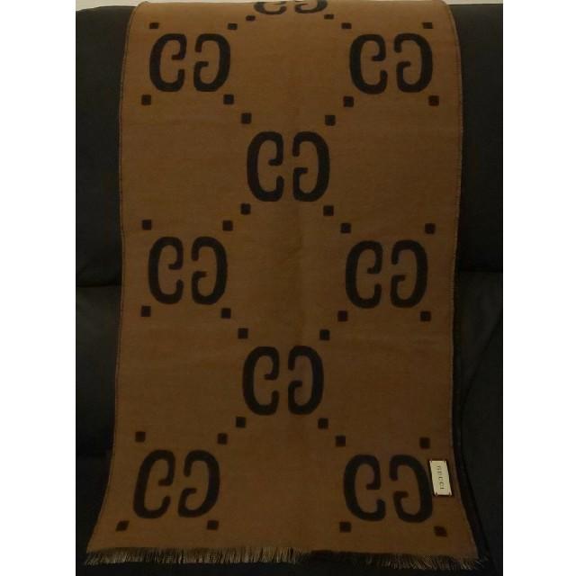 Gucci - グッチ マフラー ストール ウール×シルク 茶×黒 ショール スカーフの通販 by ken1448's shop