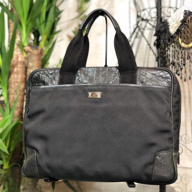 f j ベルトゥーフ - Gucci - GUCCI ブリーフケース グッチ ビジネスバッグ ブラック シマの通販 by aile'sブランドshop