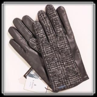 ランバンオンブルー(LANVIN en Bleu)の新品 訳有 ランバン 革 カシミヤ混 スマホ対応 手袋 メンズ LANVIN (手袋)