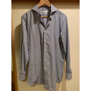 カミチャニスタ(CAMICIANISTA)の美品 カミチャニスタ ストライプシャツ 40 青(シャツ)