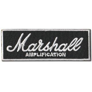 マーシャル (Marshall) ■ワッペン■黒白-mrs001(ギターアンプ)