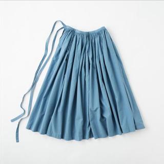 イデー(IDEE)のPOOL いろいろの服 巻きギャザーエプロン ブルーグレー(ロングスカート)