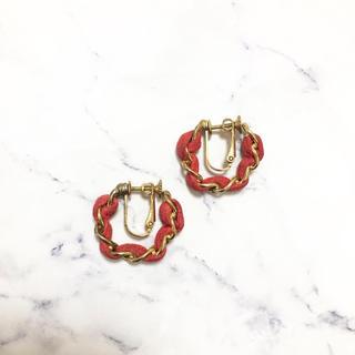 エディットフォールル(EDIT.FOR LULU)のVintage * chain vivid pink earring(イヤリング)