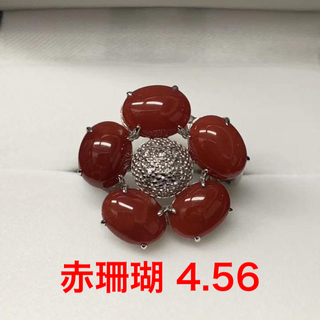 ❤️赤珊瑚❤️ダイヤモンド 18WGリング 12号 フラワー 花 さんご サンゴ(リング(指輪))
