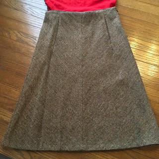トゥモローランド(TOMORROWLAND)のトゥモローランド  ヘリンボーン ブラウン スカート(ひざ丈スカート)
