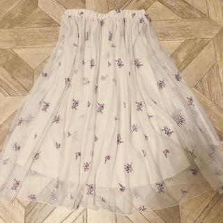 ハニーズ(HONEYS)の花柄 刺繍 チュールスカート(ひざ丈スカート)