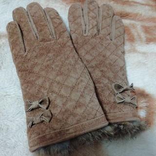 アクシーズファム(axes femme)のアクシーズファム♡革手袋♡茶色リボン(手袋)
