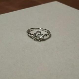 K18WG ホワイトゴールド フラワー ダイヤモンド リング(リング(指輪))
