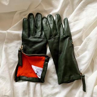 ポールスミス(Paul Smith)のポールスミス イタリヤ 手袋 本革 ニット 緑 オレンジ Paul smith(手袋)