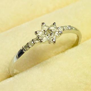 K18WG刻印あり 高級上質ダイヤモンドフラワーリング(リング(指輪))
