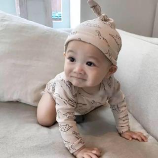 きょうりゅうロンパース 帽子付(ロンパース)