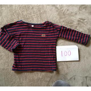 サマンサモスモス(SM2)の100cm SamansaMos2 Lagomボーダー 長袖Tシャツ赤×ネイビー(Tシャツ/カットソー)