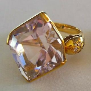 ムーンシュタイナー 巨大 クンツァイト ダイヤ K18 一点物 リング(リング(指輪))
