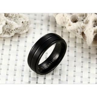 USサイズ10号男性用女性用ステンレス鋼結婚婚約指輪 黒色A251BK10(リング(指輪))