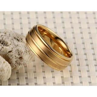USサイズ10号メンズ&レディースステンレス鋼結婚婚約指輪 ゴールド色A253G(リング(指輪))