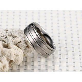 USサイズ13号メンズステンレス鋼結婚婚約指輪 シルバー色A253S13(リング(指輪))