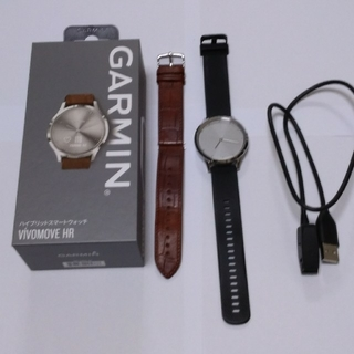 ガーミン(GARMIN)のGARMIN Viomovo HR Silver Leather (腕時計(デジタル))