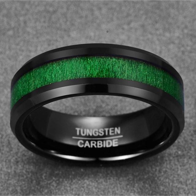 メンズ リング タングステン メープルウッド カラー: ブラック&グリーン メンズのアクセサリー(リング(指輪))の商品写真
