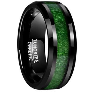 メンズ リング タングステン メープルウッド カラー: ブラック&グリーン(リング(指輪))