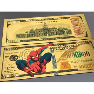 【1枚】スパイダーマン 純金24k お札 100万ドル GOLD99999(長財布)