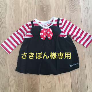 フタフタ(futafuta)のfutafuta ミニーちゃん カットソーと葉っぱ柄ロンパース(シャツ/カットソー)