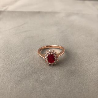 リング 指輪 レッドダイヤ レディース  メンズ プレゼント 新品(リング(指輪))