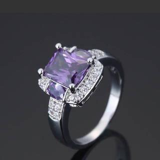 指輪 リング パープル ダイヤ 8号 9号 メンズ レディース  プレゼント (リング(指輪))