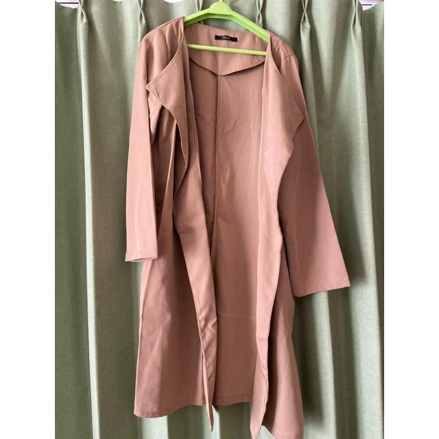 しまむら(シマムラ)のしまむら ジャケット ベージュ ガウン ロング レディースのジャケット/アウター(テーラードジャケット)の商品写真