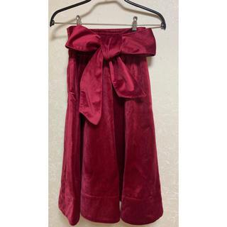 ティティアンドコー(titty&co)のtitty&Co. ベロア リボン フレアスカート S(ひざ丈スカート)