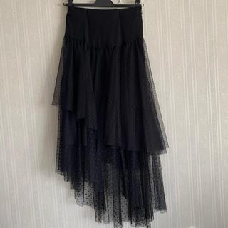 ファーファー(fur fur)のドットチュールスカート(ひざ丈スカート)