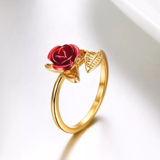 オープンリング赤ローズガーデン花葉 エレガントなサイズ変更可能なリング(リング(指輪))
