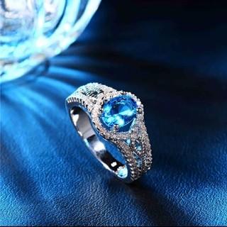 ブルージルコン CZ シルバーカラーリングホワイトゴールド(リング(指輪))