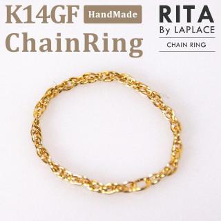 K14GF チェーンリング ゴールド(リング(指輪))