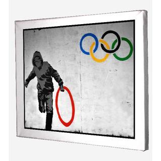(注)120-バンクシー(Banksy)オリンピック キャンバス 模写 ポスター(ボードキャンバス)