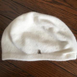 ランバンオンブルー(LANVIN en Bleu)のランバンオンブルー ニット帽  パール 白 フルラ カシミヤ アンテプリマ(ニット帽/ビーニー)