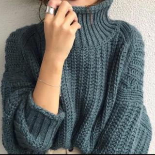 エイチアンドエム(H&M)のH&Mチャンキーニットざっくり編みグリーン緑ジャーナルスタンダードKBF(ニット/セーター)