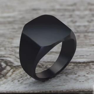 2019 ファッションシンプルなスタイルブラックスクエアリングクラシックリング(リング(指輪))