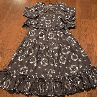 ピンクハウス 薔薇リース ブラウス スカート セットアップ  大きいサイズ