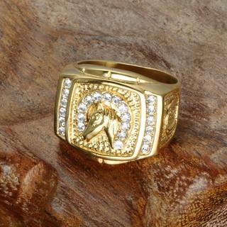 ゴールドマイクロパヴェラインストーン馬リングチタンステンレス鋼のメンズ用リング(リング(指輪))