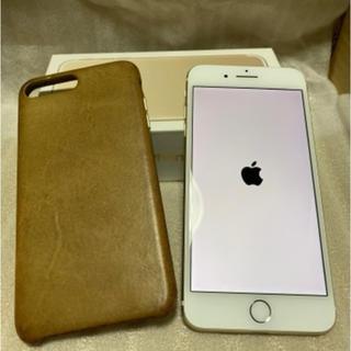 アイフォーン(iPhone)のiphone7plus 128GB SIMフリー ゴールド 純正レザーケース付(スマートフォン本体)