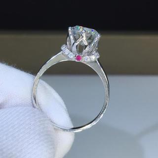 【1.5カラット】輝く王冠 モアサナイト ダイヤモンド リング(リング(指輪))